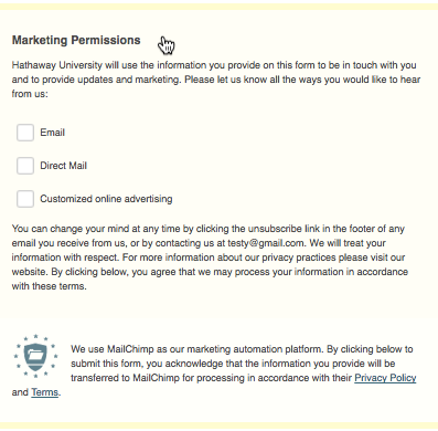 MailChimp GDPR checkboxes